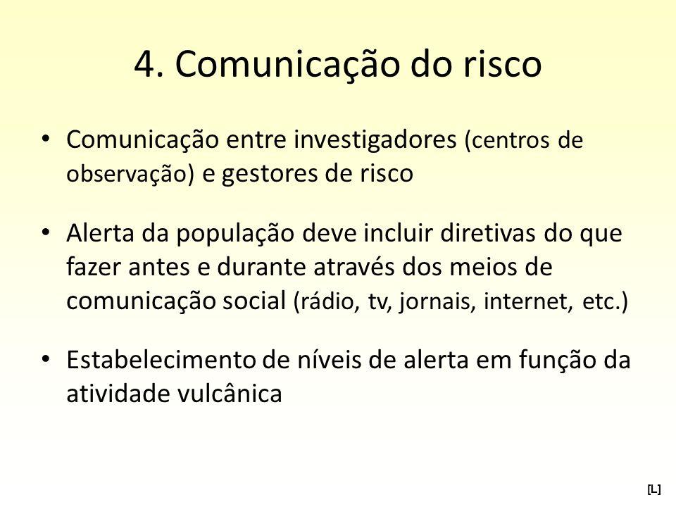 4. Comunicação do risco Comunicação entre investigadores (centros de observação) e gestores de risco Alerta da população deve incluir diretivas do que