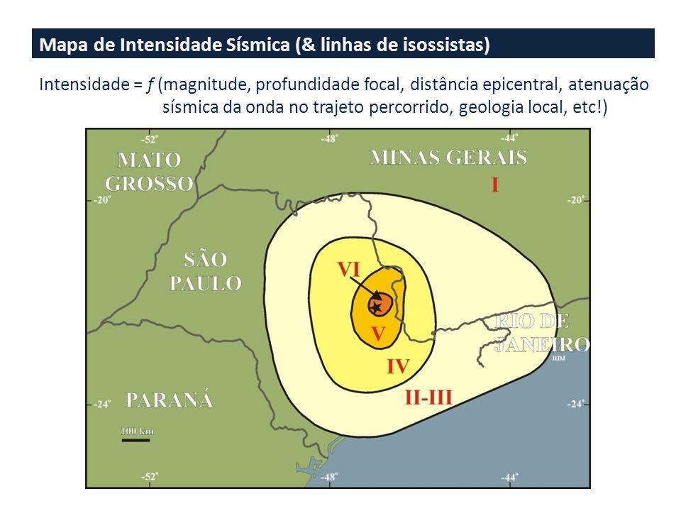 Mapa de Intensidade Sísmica (& linhas de isossistas) Intensidade = f (magnitude, profundidade focal, distância epicentral, atenuação sísmica da onda no trajeto percorrido, geologia local, etc!)
