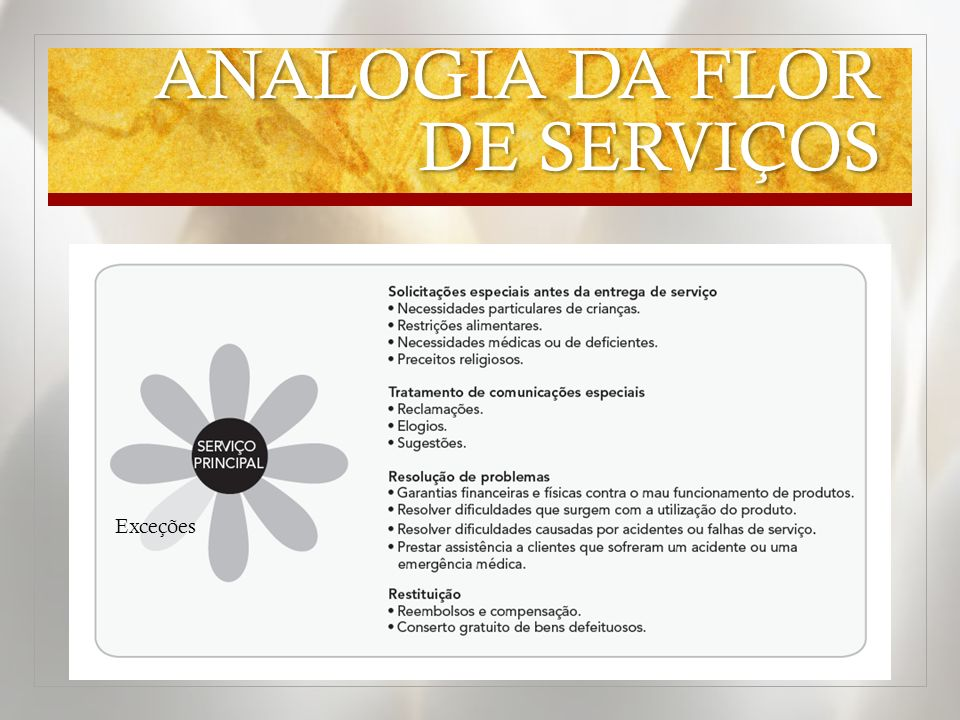 ANALOGIA DA FLOR DE SERVIÇOS Exceções