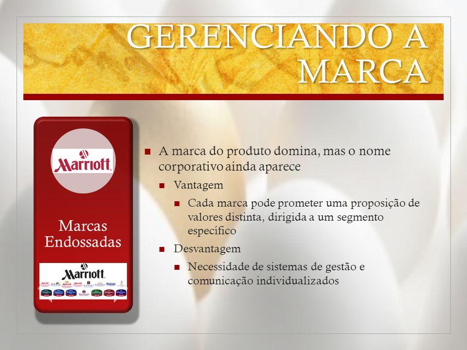 GERENCIANDO A MARCA A marca do produto domina, mas o nome corporativo ainda aparece Vantagem Cada marca pode prometer uma proposição de valores distin