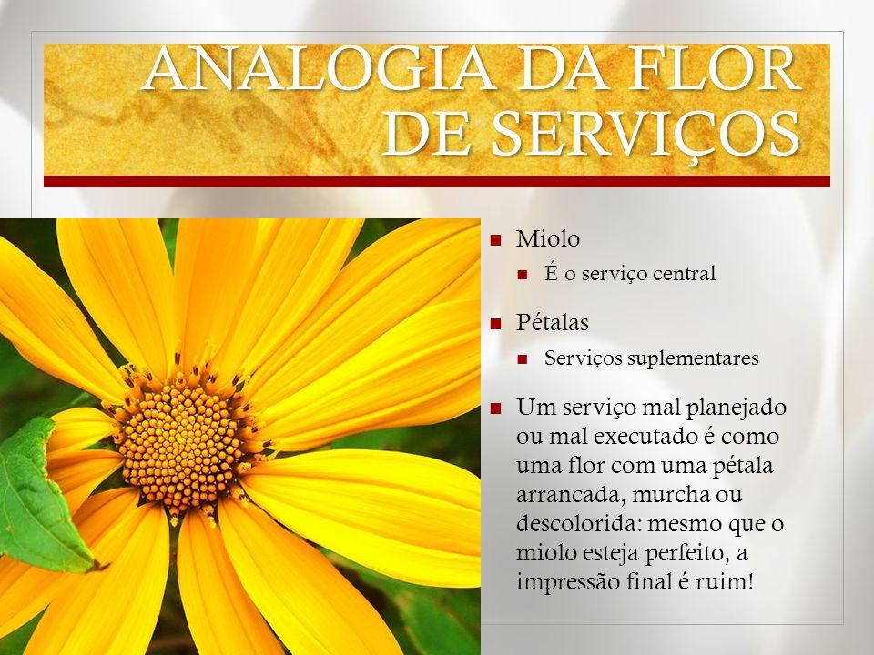 ANALOGIA DA FLOR DE SERVIÇOS Miolo É o serviço central Pétalas Serviços suplementares Um serviço mal planejado ou mal executado é como uma flor com um