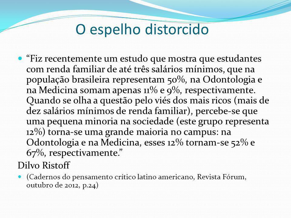 O espelho distorcido Fiz recentemente um estudo que mostra que estudantes com renda familiar de até três salários mínimos, que na população brasileira representam 50%, na Odontologia e na Medicina somam apenas 11% e 9%, respectivamente.