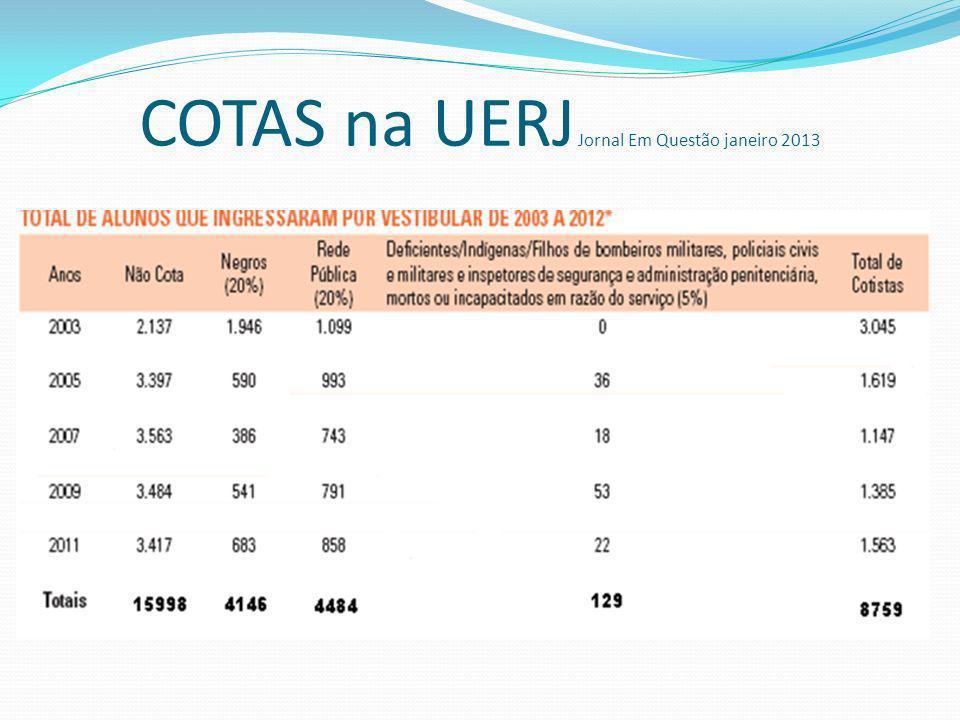 COTAS na UERJ Jornal Em Questão janeiro 2013