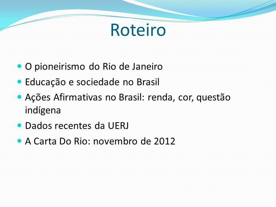Roteiro O pioneirismo do Rio de Janeiro Educação e sociedade no Brasil Ações Afirmativas no Brasil: renda, cor, questão indígena Dados recentes da UERJ A Carta Do Rio: novembro de 2012