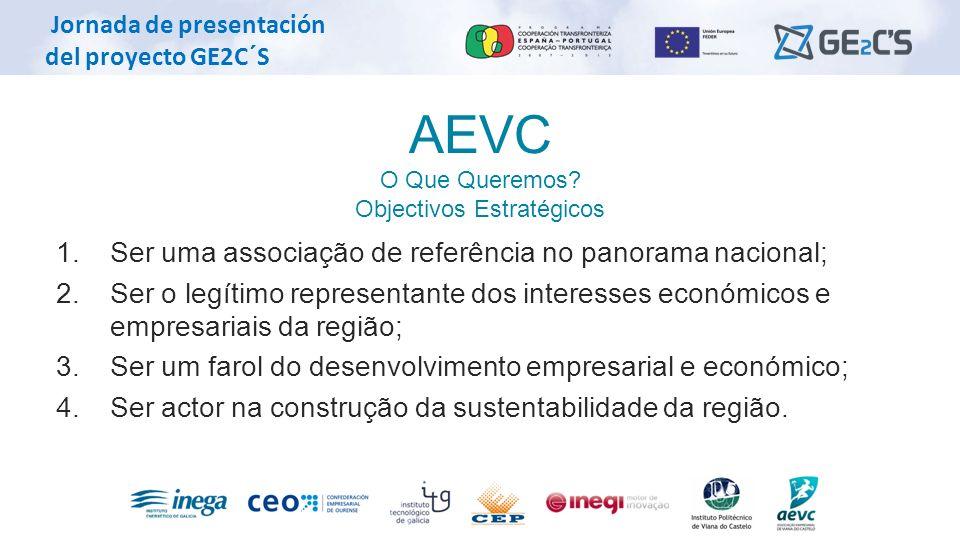 Jornada de presentación del proyecto GE2C´S AEVC O Que Queremos? Objectivos Estratégicos 1. Ser uma associação de referência no panorama nacional; 2.