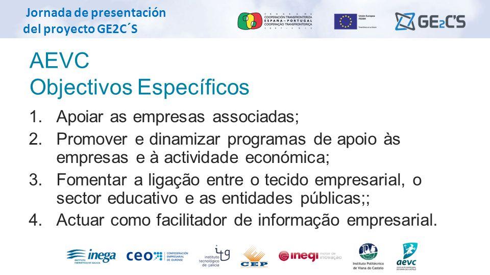 Jornada de presentación del proyecto GE2C´S AEVC Objectivos Específicos 1. Apoiar as empresas associadas; 2. Promover e dinamizar programas de apoio à