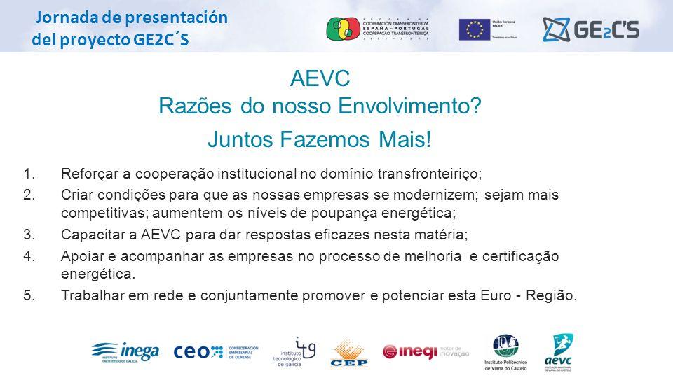 Jornada de presentación del proyecto GE2C´S AEVC Razões do nosso Envolvimento? Juntos Fazemos Mais! 1. Reforçar a cooperação institucional no domínio