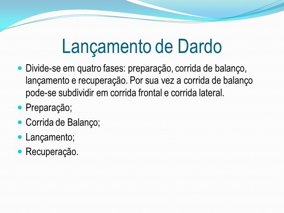 Lançamento de Dardo Divide-se em quatro fases: preparação, corrida de balanço, lançamento e recuperação. Por sua vez a corrida de balanço pode-se subd