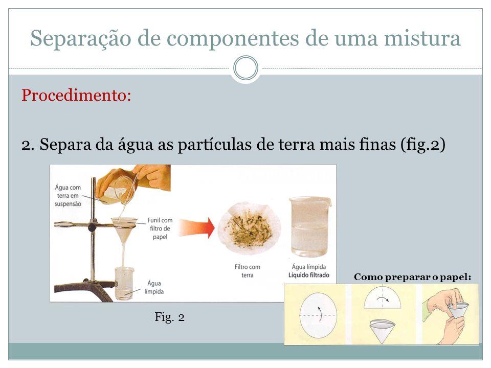 Separação de componentes de uma mistura Procedimento: 3.