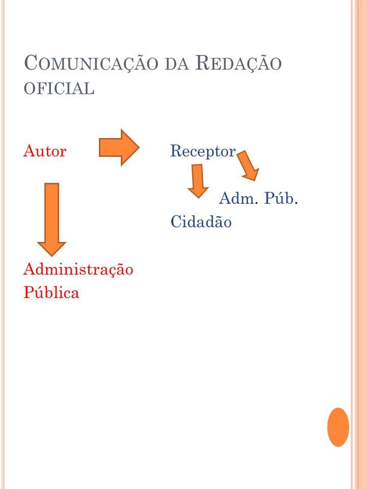 C OMUNICAÇÃO DA R EDAÇÃO OFICIAL AutorReceptor Adm. Púb. Cidadão Administração Pública