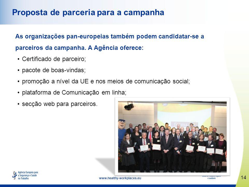 15 www.healthy-workplaces.eu Prémios Europeus de Boas Práticas Reconhecem contributos notáveis e inovadores; incentivam a colaboração entre gestores e trabalhadores; reforçam a segurança e saúde no local de trabalho.