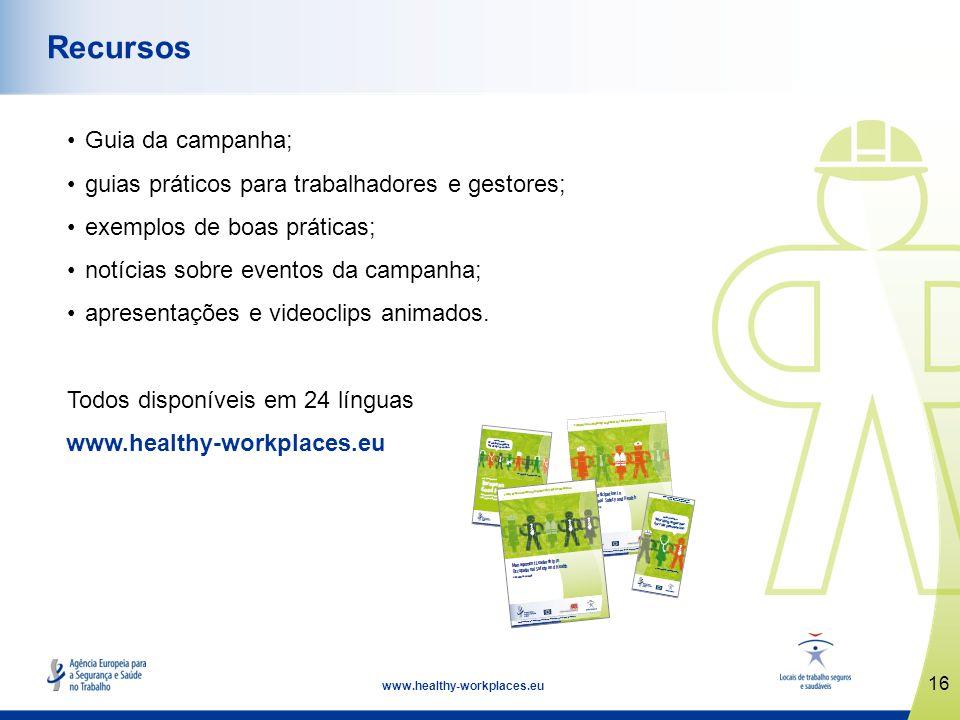 17 www.healthy-workplaces.eu Datas importantes Lançamento da campanha: 18 de abril de 2012 Semanas Europeias para a Segurança e Saúde no Trabalho: outubro de 2012 e 2013 Cerimónia de Atribuição dos Prémios de Boas Práticas: abril de 2013 Cimeira Locais de Trabalho Seguros e Saudáveis: novembro de 2013