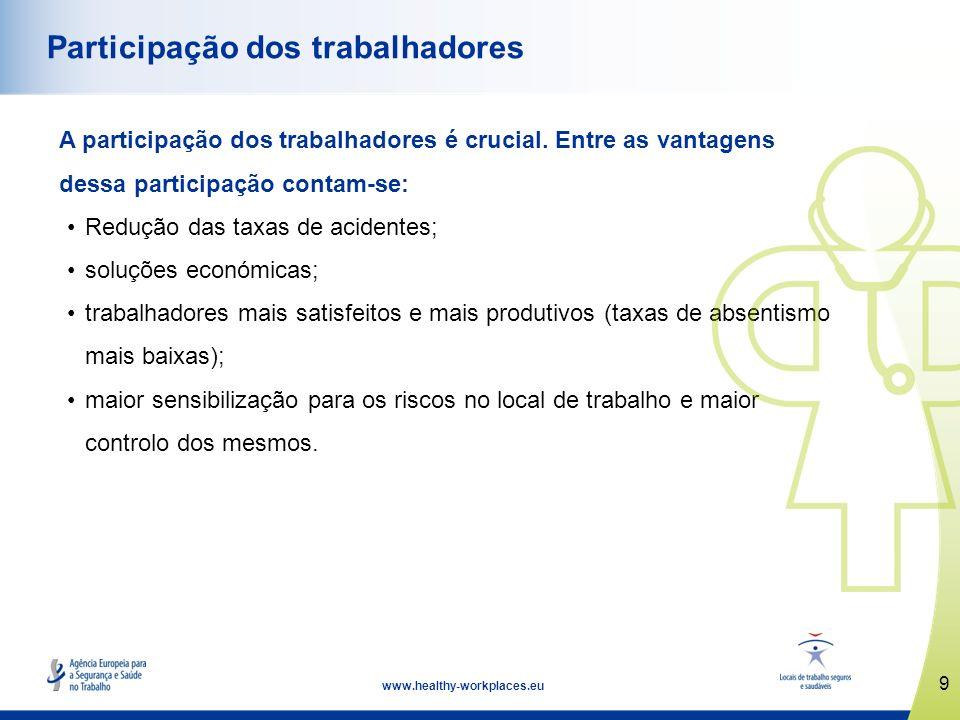 10 www.healthy-workplaces.eu Consulta dos trabalhadores Os empregadores têm o dever de consultar os trabalhadores/representantes dos trabalhadores sobre segurança e saúde.