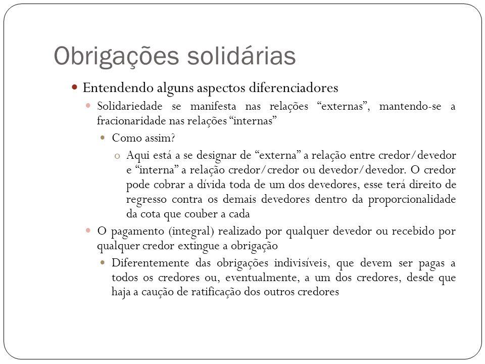 Obrigações solidárias Entendendo alguns aspectos diferenciadores Solidariedade se manifesta nas relações externas, mantendo-se a fracionaridade nas re