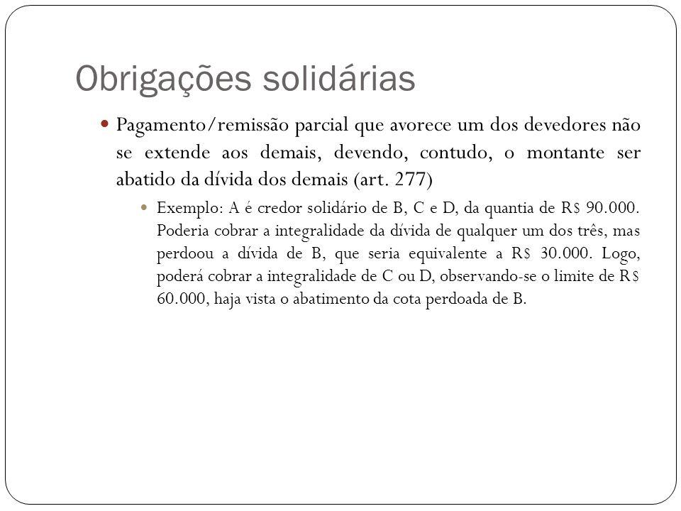 Obrigações solidárias Pagamento/remissão parcial que avorece um dos devedores não se extende aos demais, devendo, contudo, o montante ser abatido da d