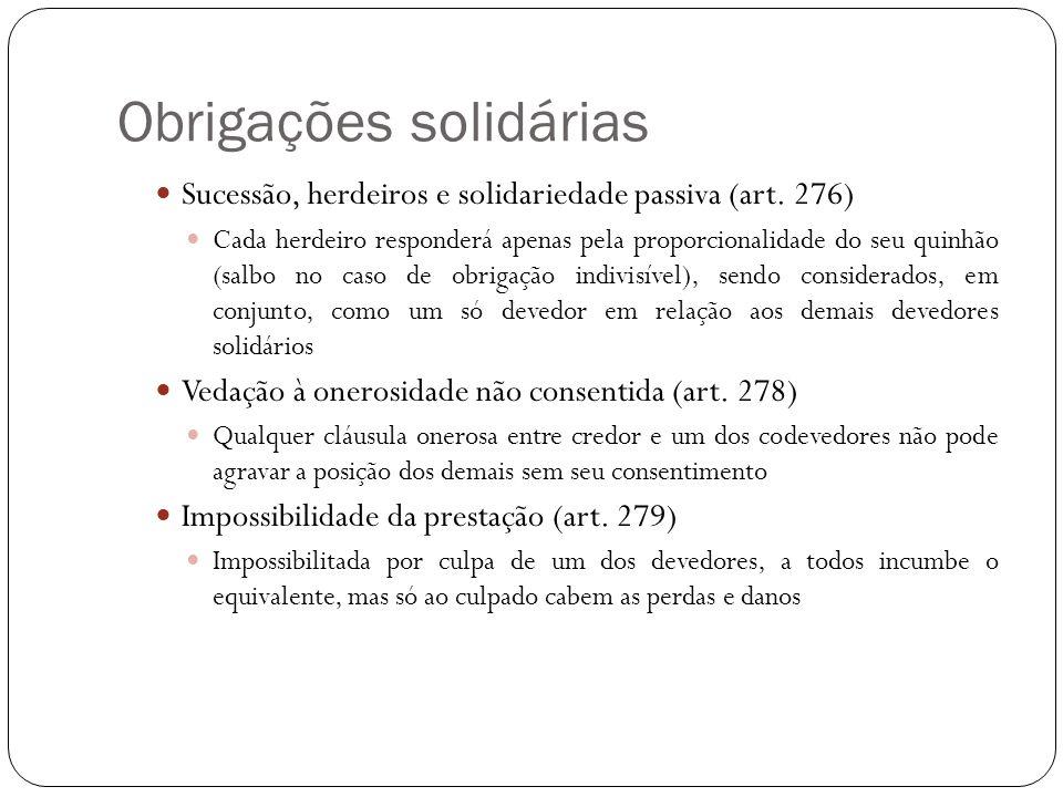 Obrigações solidárias Sucessão, herdeiros e solidariedade passiva (art. 276) Cada herdeiro responderá apenas pela proporcionalidade do seu quinhão (sa