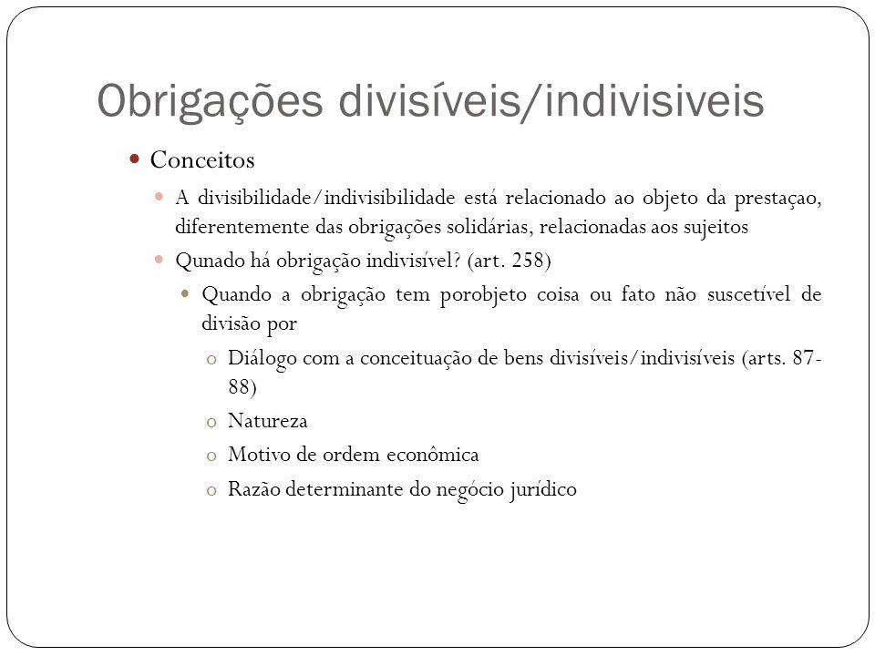 Obrigações divisíveis/indivisiveis Conceitos A divisibilidade/indivisibilidade está relacionado ao objeto da prestaçao, diferentemente das obrigações