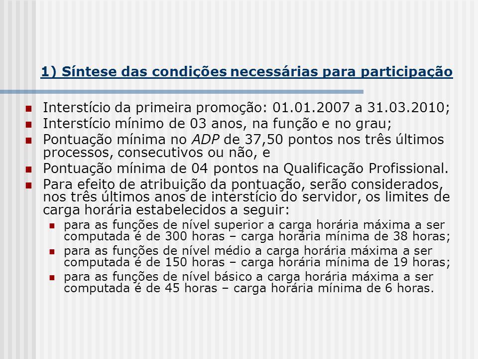 1) Síntese das condições necessárias para participação Interstício da primeira promoção: 01.01.2007 a 31.03.2010; Interstício mínimo de 03 anos, na fu