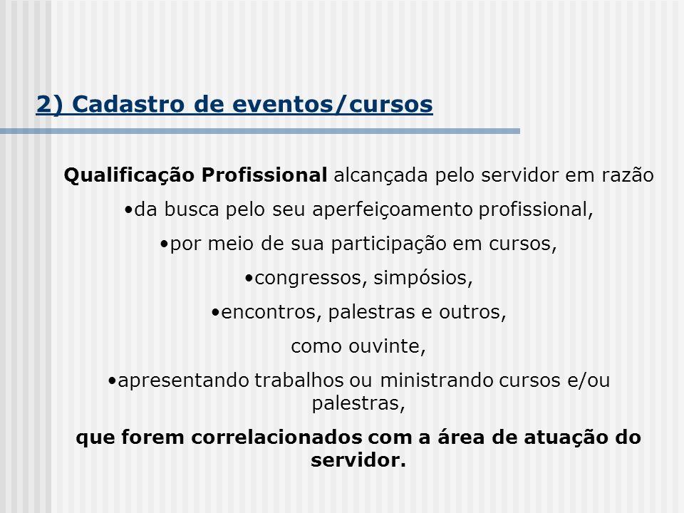 2) Cadastro de eventos/cursos Qualificação Profissional alcançada pelo servidor em razão da busca pelo seu aperfeiçoamento profissional, por meio de s