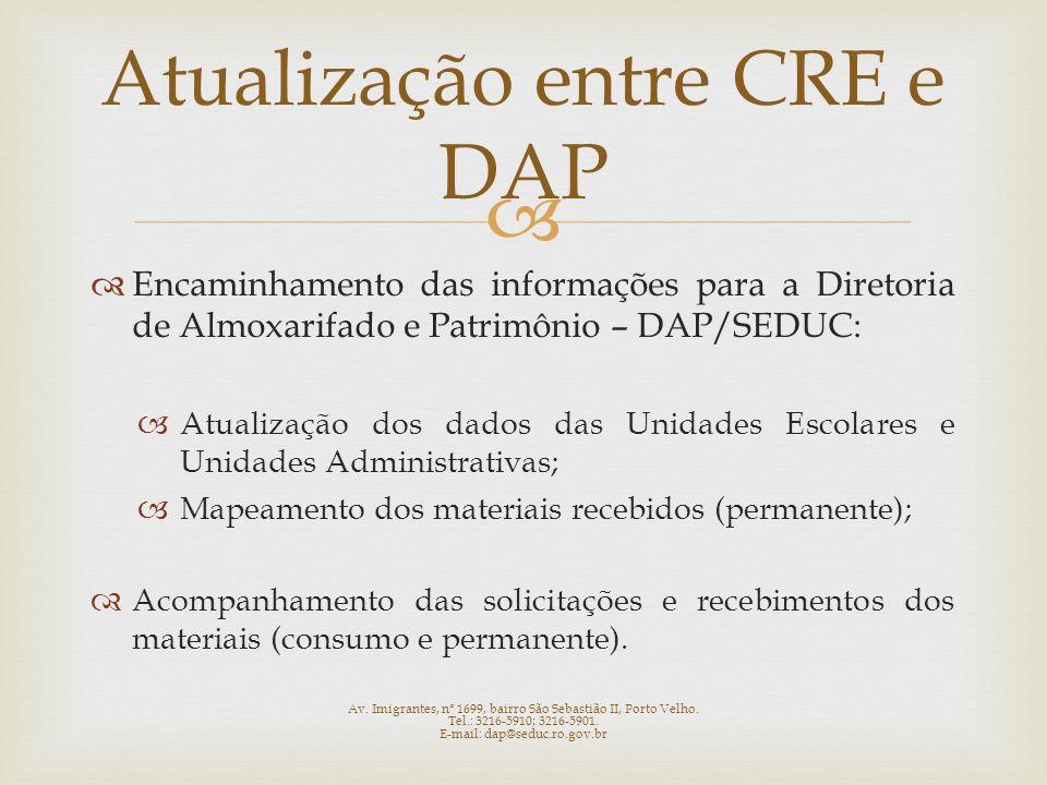Encaminhamento das informações para a Diretoria de Almoxarifado e Patrimônio – DAP/SEDUC: Atualização dos dados das Unidades Escolares e Unidades Admi