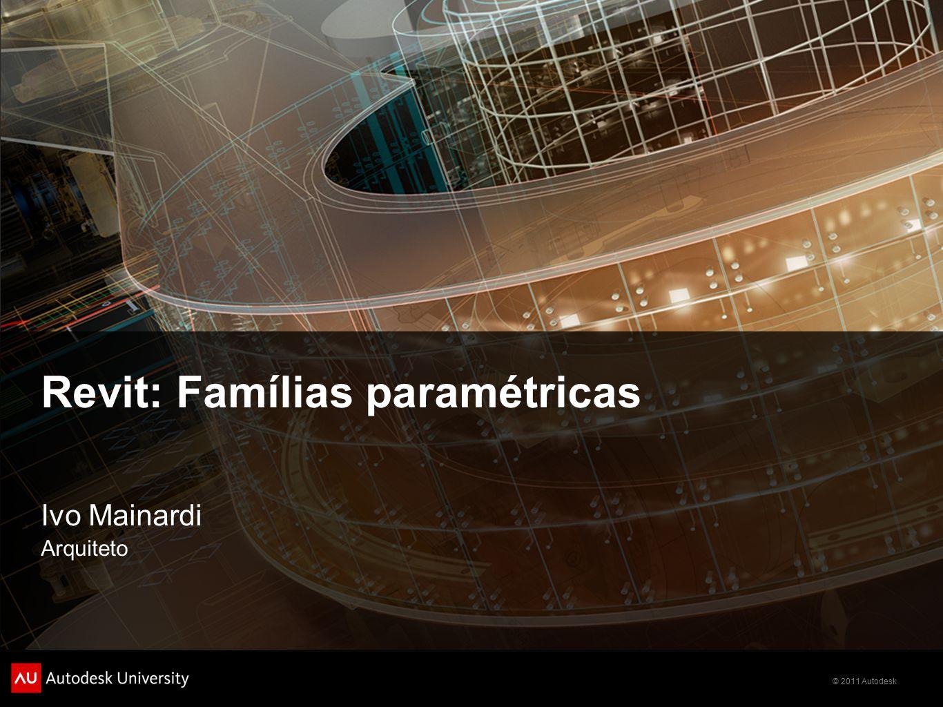 © 2011 Autodesk Parameter data Group parameter under Para organizar a janela de properties escolha a qual grupo o seu parâmetro pertence.