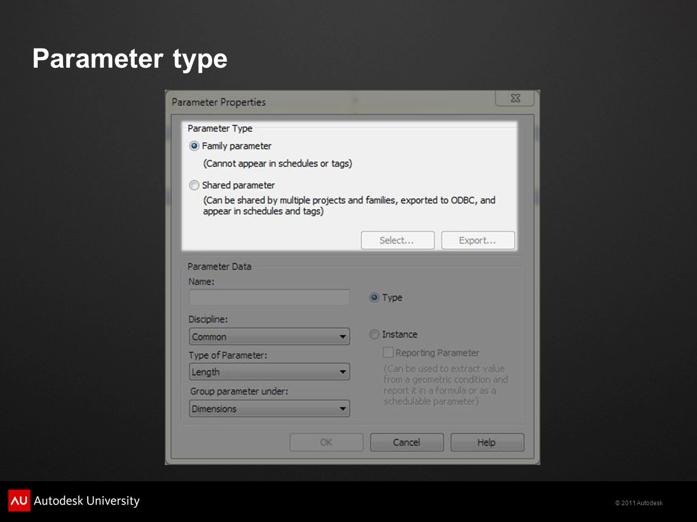 © 2011 Autodesk Parameter type
