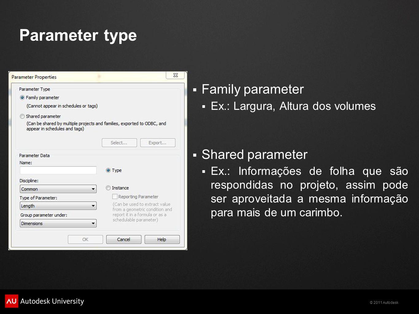 © 2011 Autodesk Parameter type Family parameter Ex.: Largura, Altura dos volumes Shared parameter Ex.: Informações de folha que são respondidas no projeto, assim pode ser aproveitada a mesma informação para mais de um carimbo.