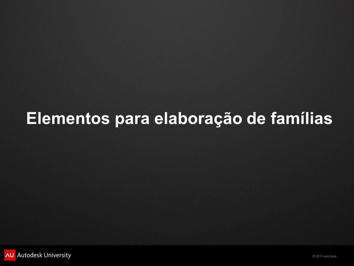 © 2011 Autodesk Elementos para elaboração de famílias