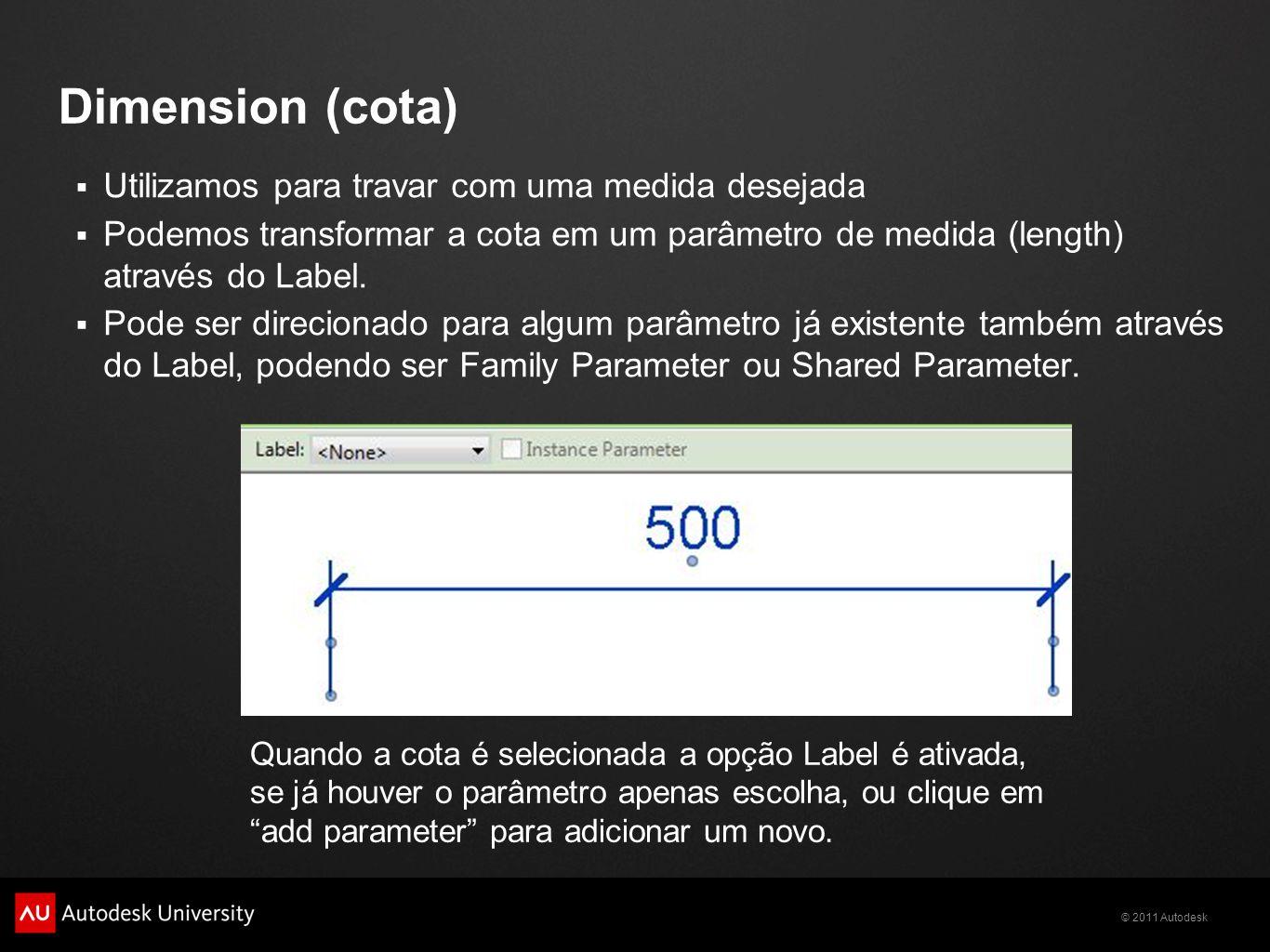 © 2011 Autodesk Dimension (cota) Utilizamos para travar com uma medida desejada Podemos transformar a cota em um parâmetro de medida (length) através do Label.