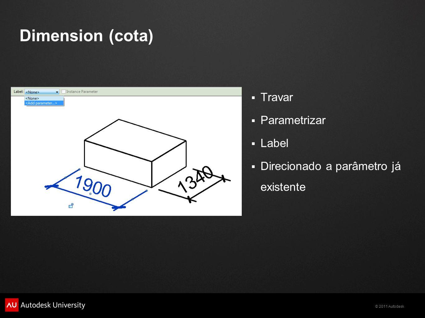 © 2011 Autodesk Dimension (cota) Travar Parametrizar Label Direcionado a parâmetro já existente
