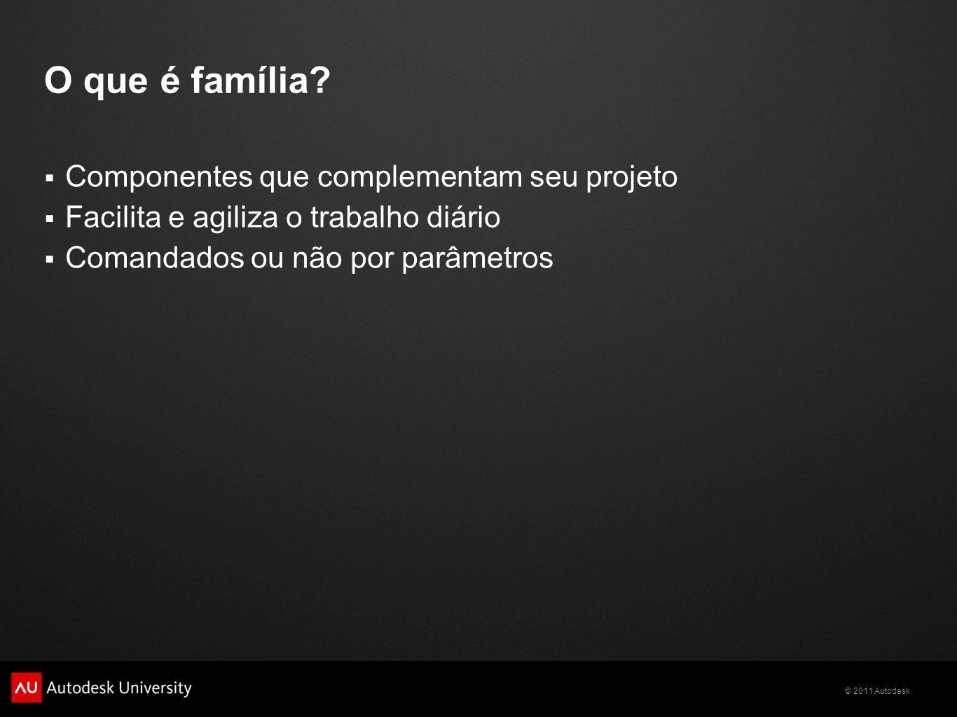 © 2011 Autodesk Tipo de família System family Paredes Curtain system Annotation family 2D + Label Templates Carimbos, tags Model family 3D + 2D Templates Volumétricos Comandados por parâmetros criados pelo usuário