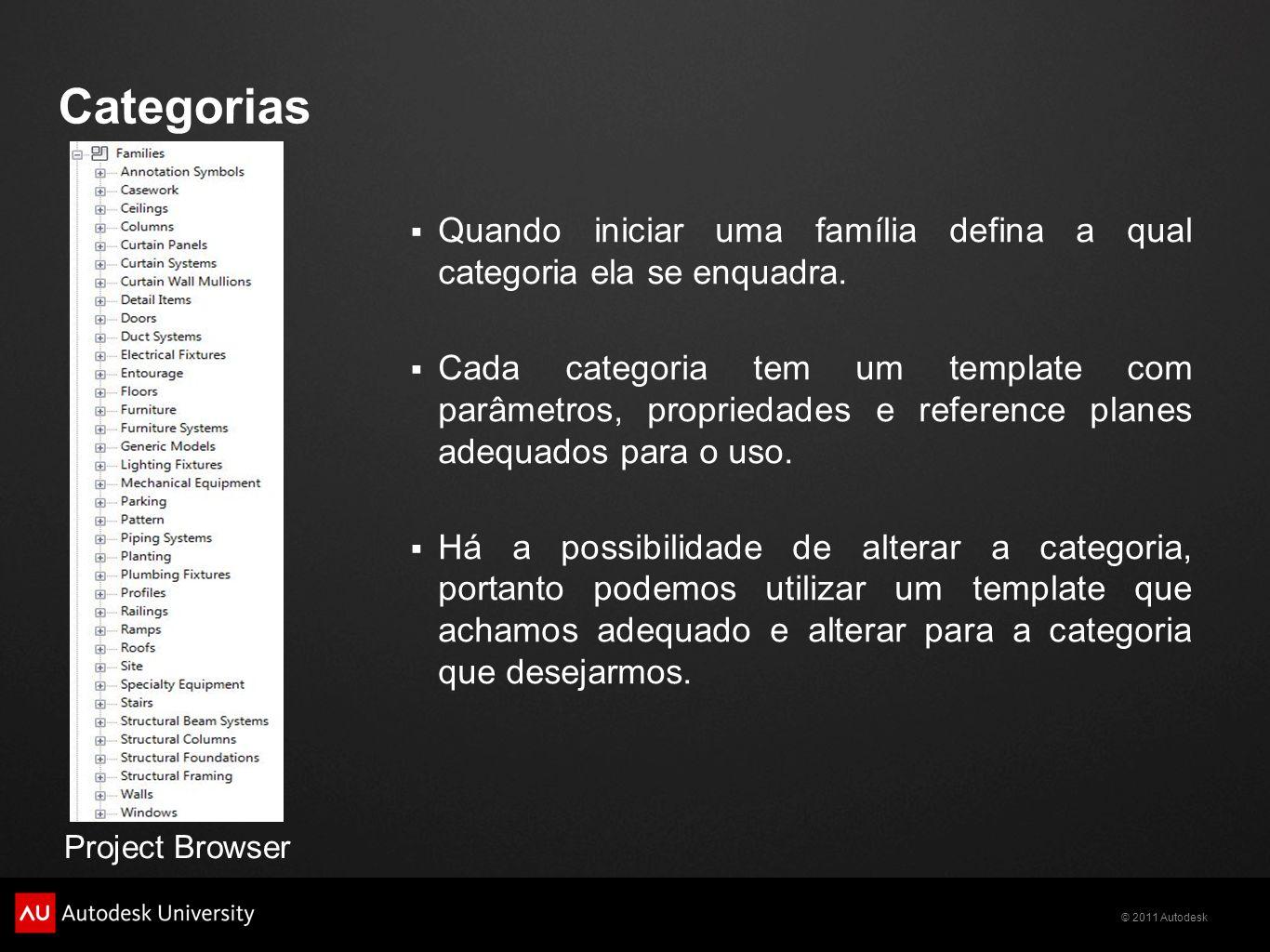 © 2011 Autodesk Categorias Quando iniciar uma família defina a qual categoria ela se enquadra.