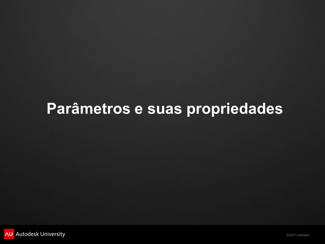 © 2011 Autodesk Parameter data Name: nome que o parâmetro se apresentará Discipline: altera as características do parâmetro conforme a escolha entre Common, Structural e Electrical.