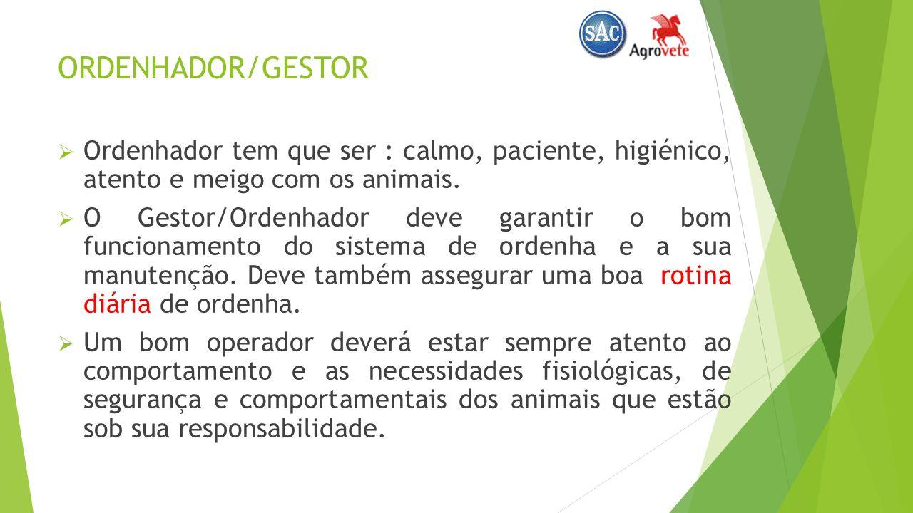 ORDENHADOR/GESTOR Ordenhador tem que ser : calmo, paciente, higiénico, atento e meigo com os animais.