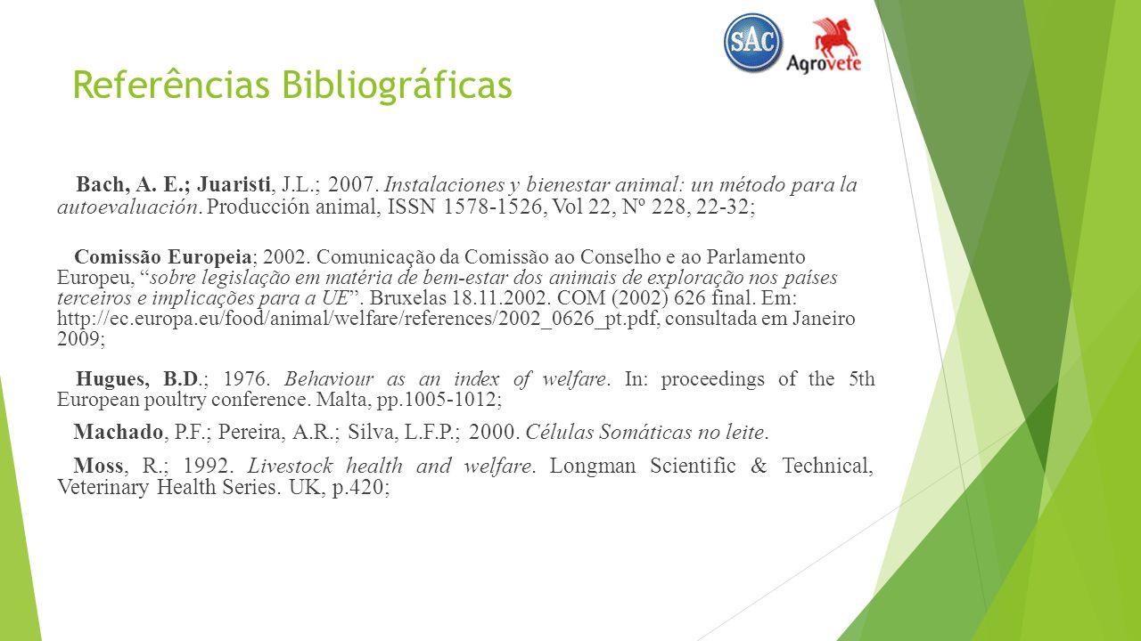 Referências Bibliográficas Bach, A.E.; Juaristi, J.L.; 2007.