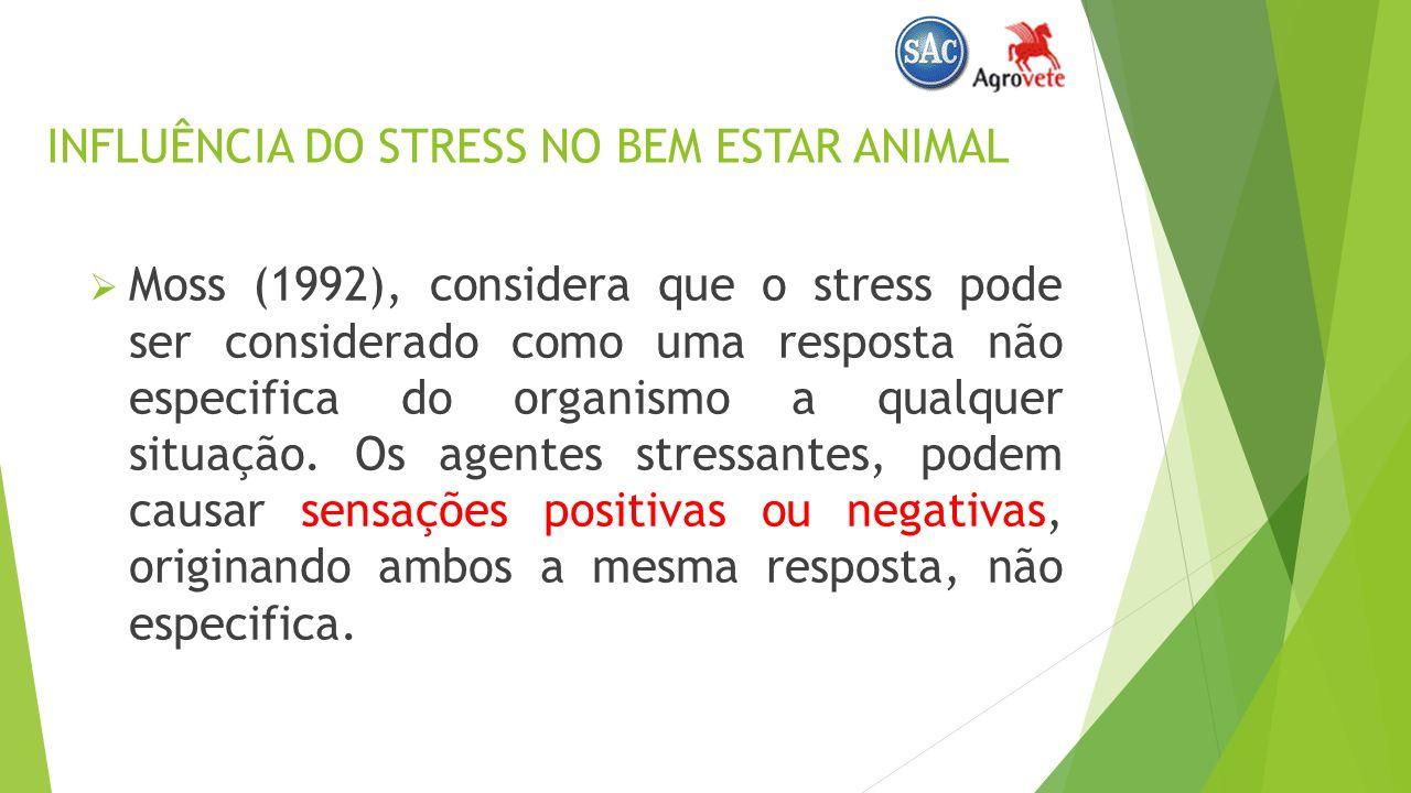 INFLUÊNCIA DO STRESS NO BEM ESTAR ANIMAL Moss (1992), considera que o stress pode ser considerado como uma resposta não especifica do organismo a qualquer situação.