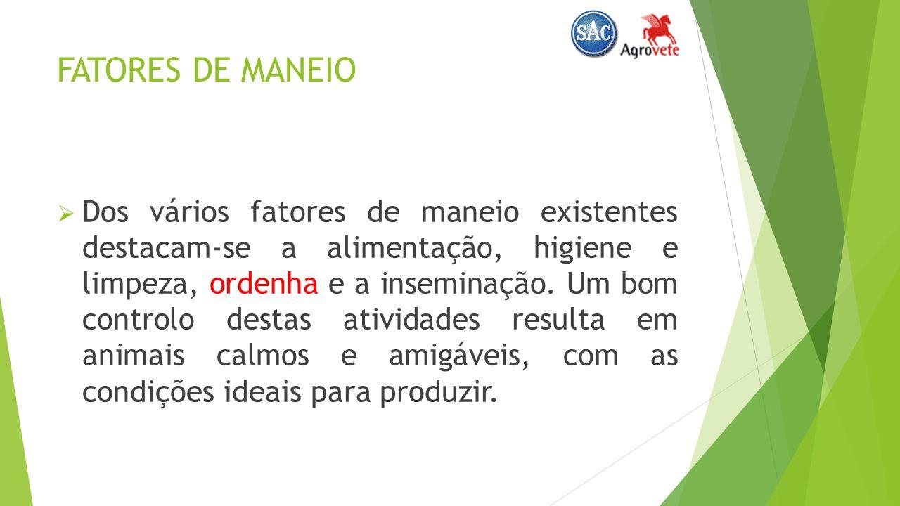 FATORES DE MANEIO Dos vários fatores de maneio existentes destacam-se a alimentação, higiene e limpeza, ordenha e a inseminação.