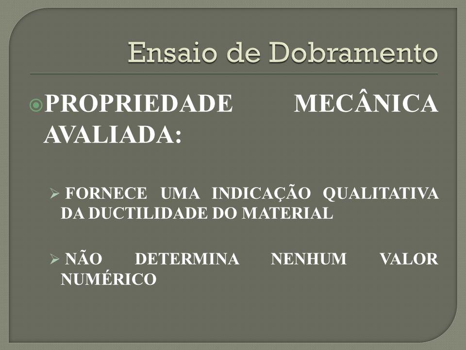 PROPRIEDADE MECÂNICA AVALIADA: FORNECE UMA INDICAÇÃO QUALITATIVA DA DUCTILIDADE DO MATERIAL NÃO DETERMINA NENHUM VALOR NUMÉRICO
