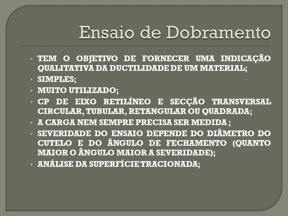 TEM O OBJETIVO DE FORNECER UMA INDICAÇÃO QUALITATIVA DA DUCTILIDADE DE UM MATERIAL; SIMPLES; MUITO UTILIZADO; CP DE EIXO RETILÍNEO E SECÇÃO TRANSVERSAL CIRCULAR, TUBULAR, RETANGULAR OU QUADRADA; A CARGA NEM SEMPRE PRECISA SER MEDIDA ; SEVERIDADE DO ENSAIO DEPENDE DO DIÂMETRO DO CUTELO E DO ÂNGULO DE FECHAMENTO (QUANTO MAIOR O ÂNGULO MAIOR A SEVERIDADE); ANÁLISE DA SUPERFÍCIE TRACIONADA;