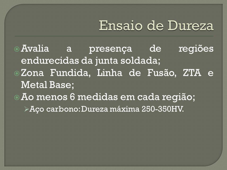 Avalia a presença de regiões endurecidas da junta soldada; Zona Fundida, Linha de Fusão, ZTA e Metal Base; Ao menos 6 medidas em cada região; Aço carbono: Dureza máxima 250-350HV.