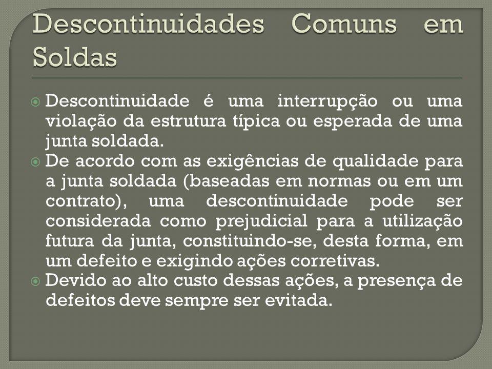 Descontinuidade é uma interrupção ou uma violação da estrutura típica ou esperada de uma junta soldada.