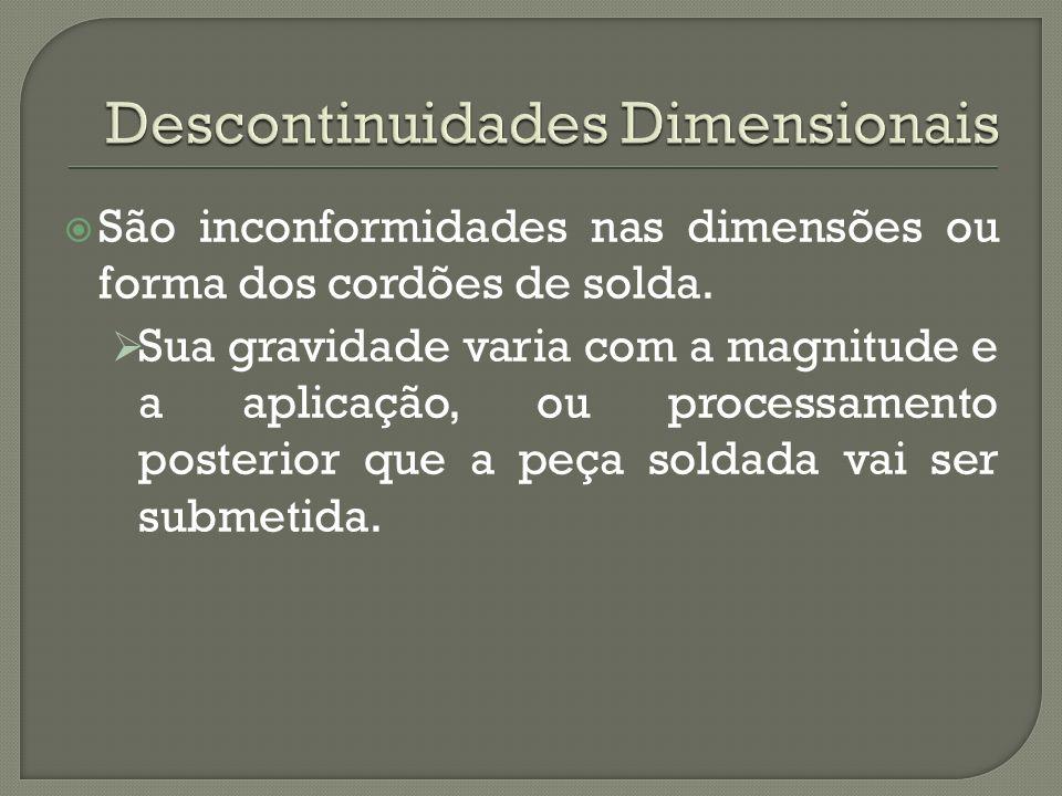 São inconformidades nas dimensões ou forma dos cordões de solda.