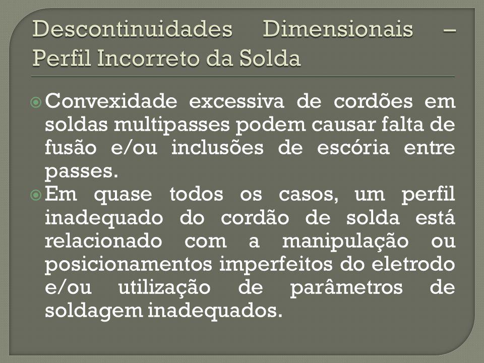 Convexidade excessiva de cordões em soldas multipasses podem causar falta de fusão e/ou inclusões de escória entre passes.
