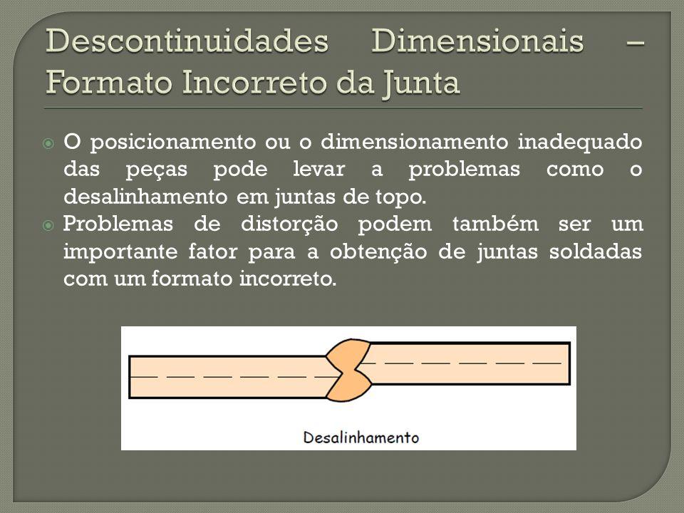 O posicionamento ou o dimensionamento inadequado das peças pode levar a problemas como o desalinhamento em juntas de topo.