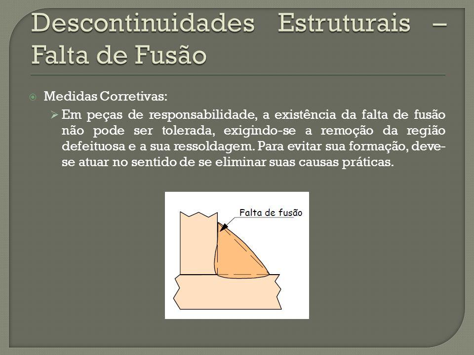 Medidas Corretivas: Em peças de responsabilidade, a existência da falta de fusão não pode ser tolerada, exigindo-se a remoção da região defeituosa e a sua ressoldagem.