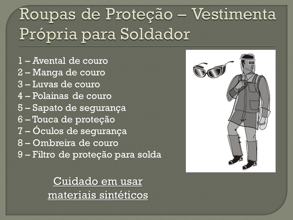 1 – Avental de couro 2 – Manga de couro 3 – Luvas de couro 4 – Polainas de couro 5 – Sapato de segurança 6 – Touca de proteção 7 – Óculos de segurança