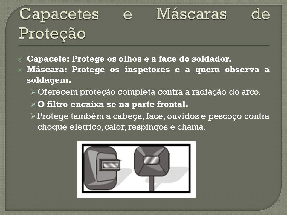 Capacete: Protege os olhos e a face do soldador. Máscara: Protege os inspetores e a quem observa a soldagem. Oferecem proteção completa contra a radia