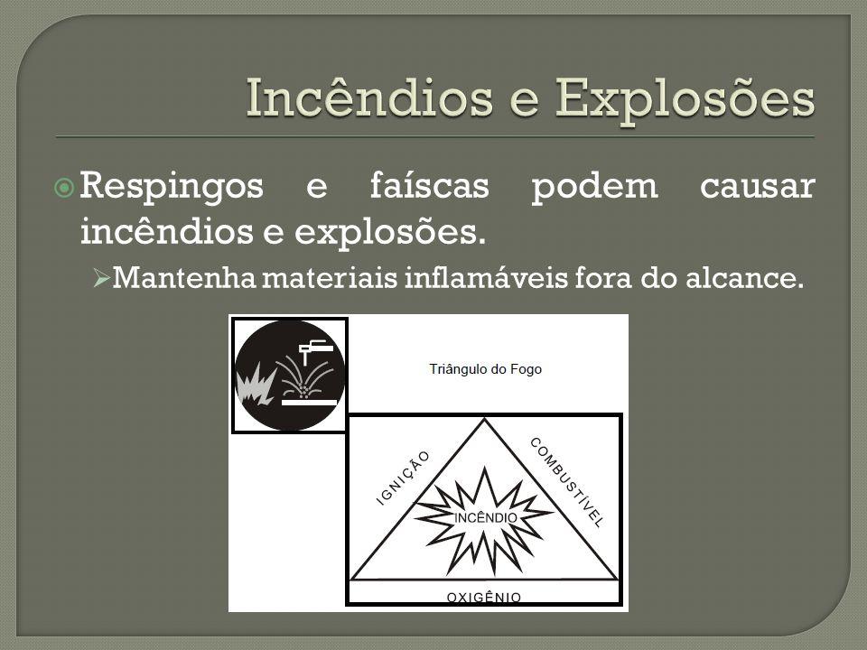 Respingos e faíscas podem causar incêndios e explosões. Mantenha materiais inflamáveis fora do alcance.