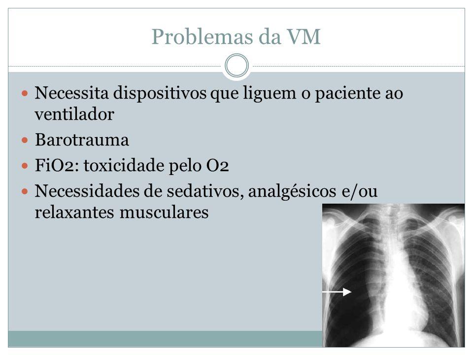 Problemas da VM Necessita dispositivos que liguem o paciente ao ventilador Barotrauma FiO2: toxicidade pelo O2 Necessidades de sedativos, analgésicos