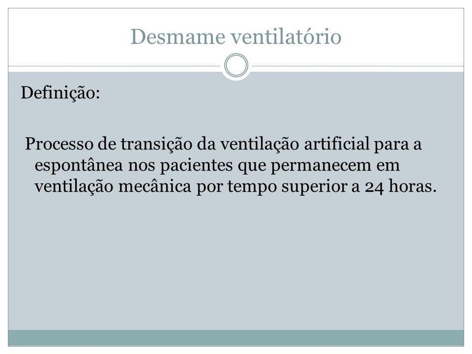 Desmame ventilatório Definição: Processo de transição da ventilação artificial para a espontânea nos pacientes que permanecem em ventilação mecânica p